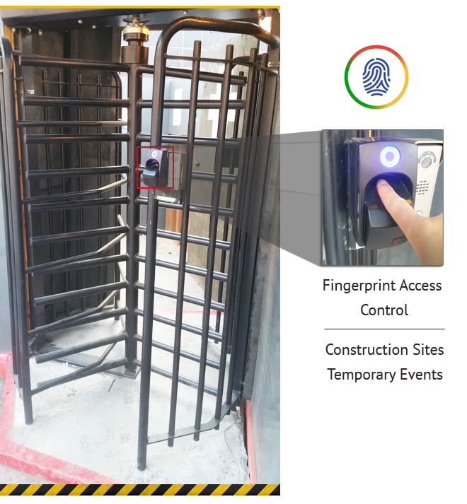 fingerprint turnstile reader with zoomed in print button